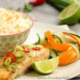 Thai Green Salmon with Coconut Rice and Pickled Veggie Ribbons